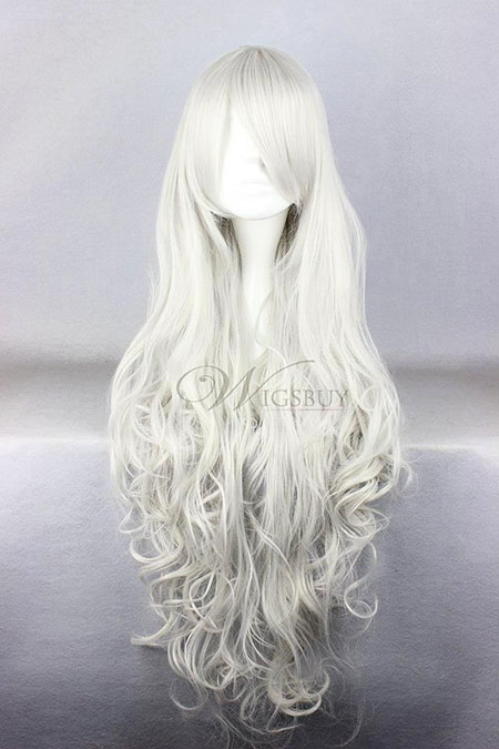 Long Blond Blanc Cosplay Cosplay Très Platine