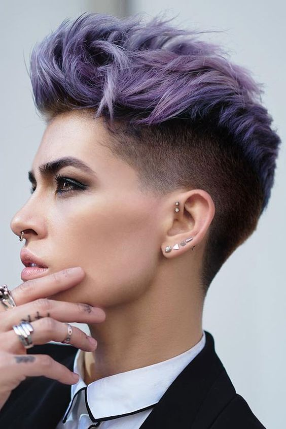 Purple Ombre Faux Hawk Pixie