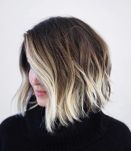 Blonde Balayage Bob Choppy