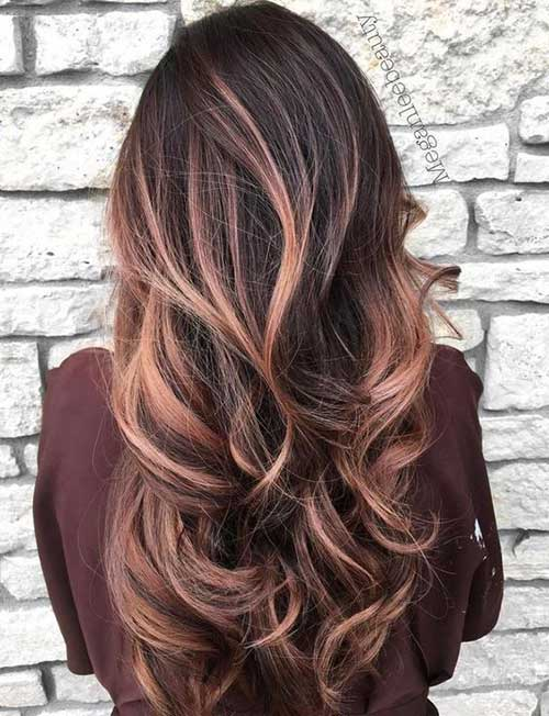 Longues coiffures Brown avec Highlights-10