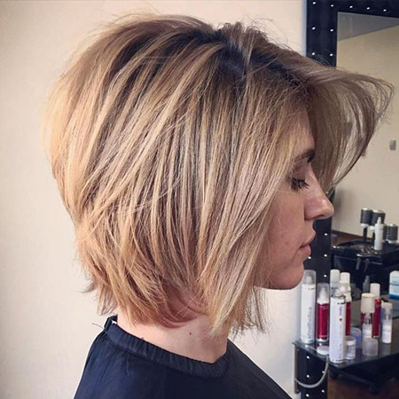 Honey Blonde Lob, Short Blonde Layered Bob